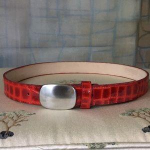 Nava Belts Crocodile Embossed Patent Leather Belt